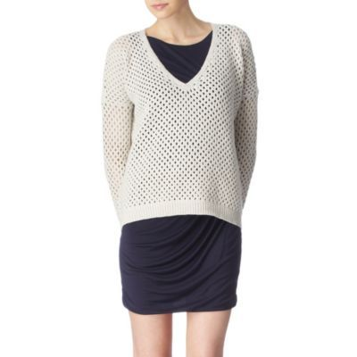 Castra Jumper - neckline: v-neck; pattern: plain, holey knit; length: below the bottom; style: standard; predominant colour: ivory; occasions: casual; fibres: cotton - 100%; material texture: jersey; back detail: longer hem at back than at front; trends: white; sleeve length: long sleeve; sleeve style: standard; pattern type: knitted - other; pattern size: standard; texture group: jersey - stretchy/drapey