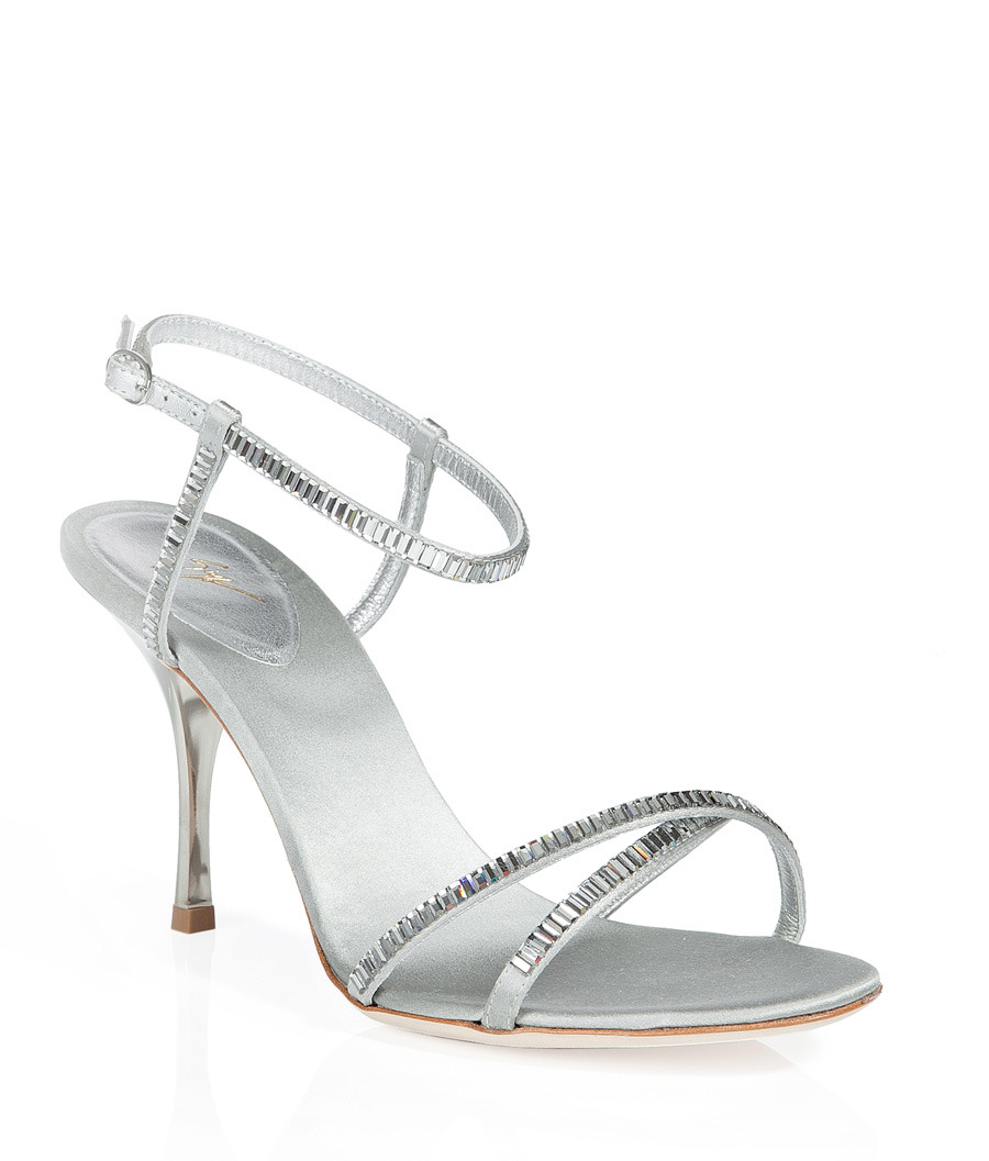 Rhinestone Sandals - predominant colour: silver; material: leather; heel height: high; embellishment: jewels; ankle detail: ankle strap; heel: stiletto; toe: open toe/peeptoe; style: strappy