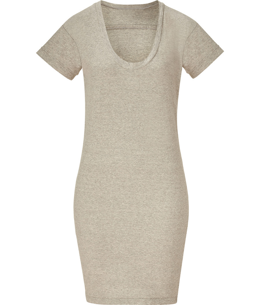 Heather Grey Relaxed Fit T Shirt Dress - style: t-shirt; length: mid thigh; pattern: plain; waist detail: fitted waist; predominant colour: stone; occasions: casual, work; fit: body skimming; neckline: scoop; fibres: cotton - 100%; material texture: jersey; hip detail: slits at hip; trends: pastels; sleeve length: short sleeve; sleeve style: standard; pattern type: fabric; pattern size: standard; texture group: jersey - stretchy/drapey