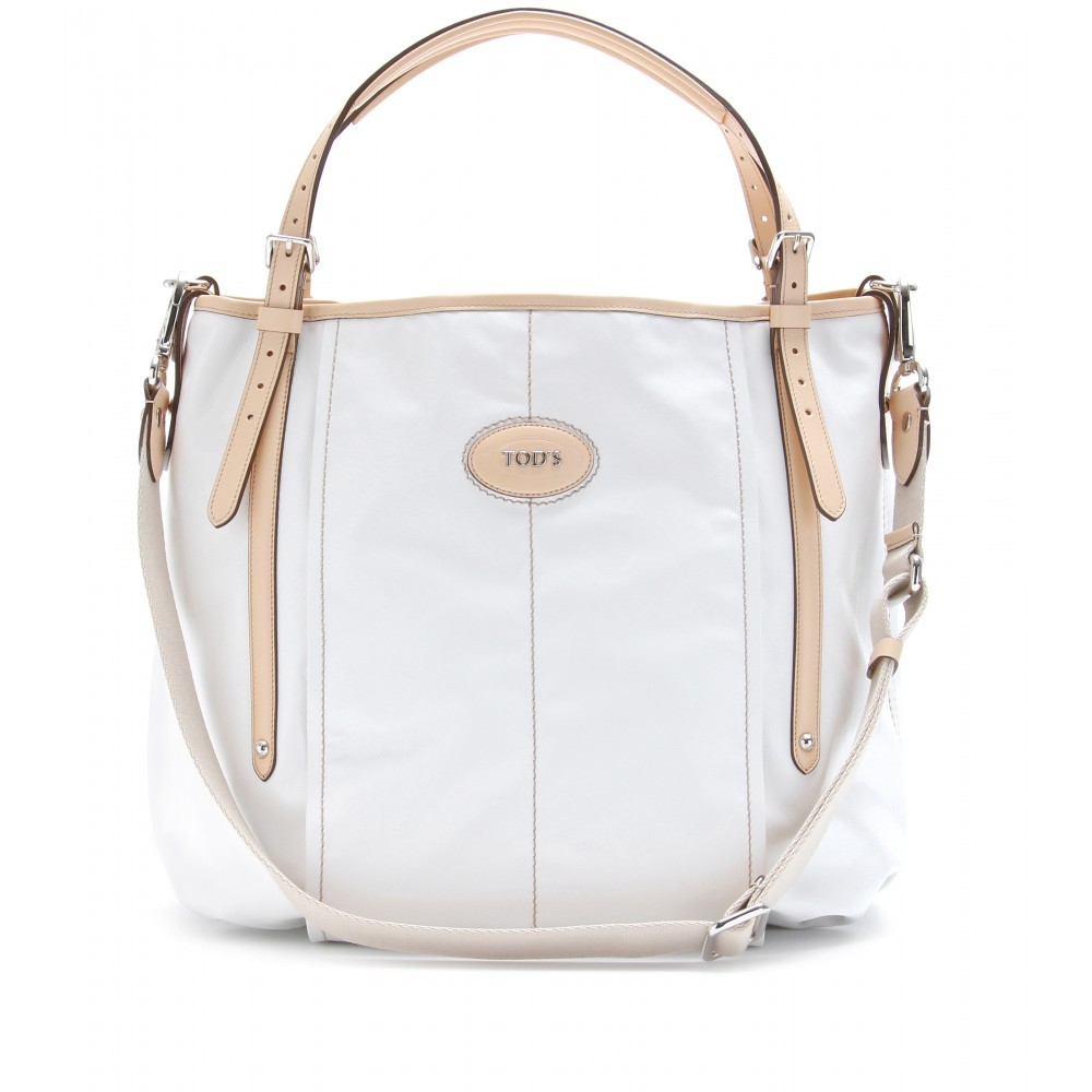 G Line Coated Twill Tote - predominant colour: white; style: shoulder; length: shoulder (tucks under arm); size: standard; material: leather; pattern: plain