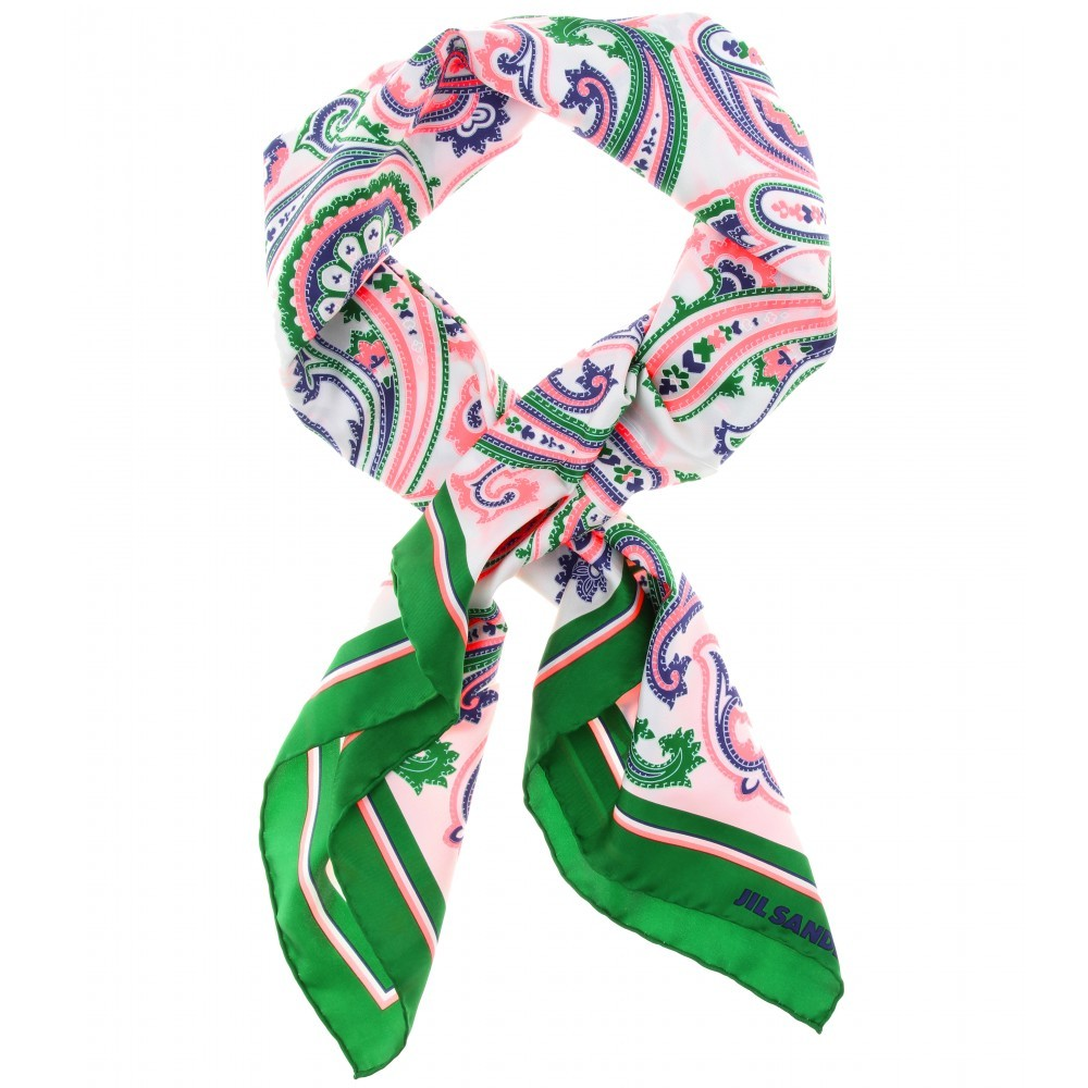 Paisley Print Scarf - predominant colour: multicoloured; type of pattern: standard; style: regular; size: standard; material: silk; pattern: paisley