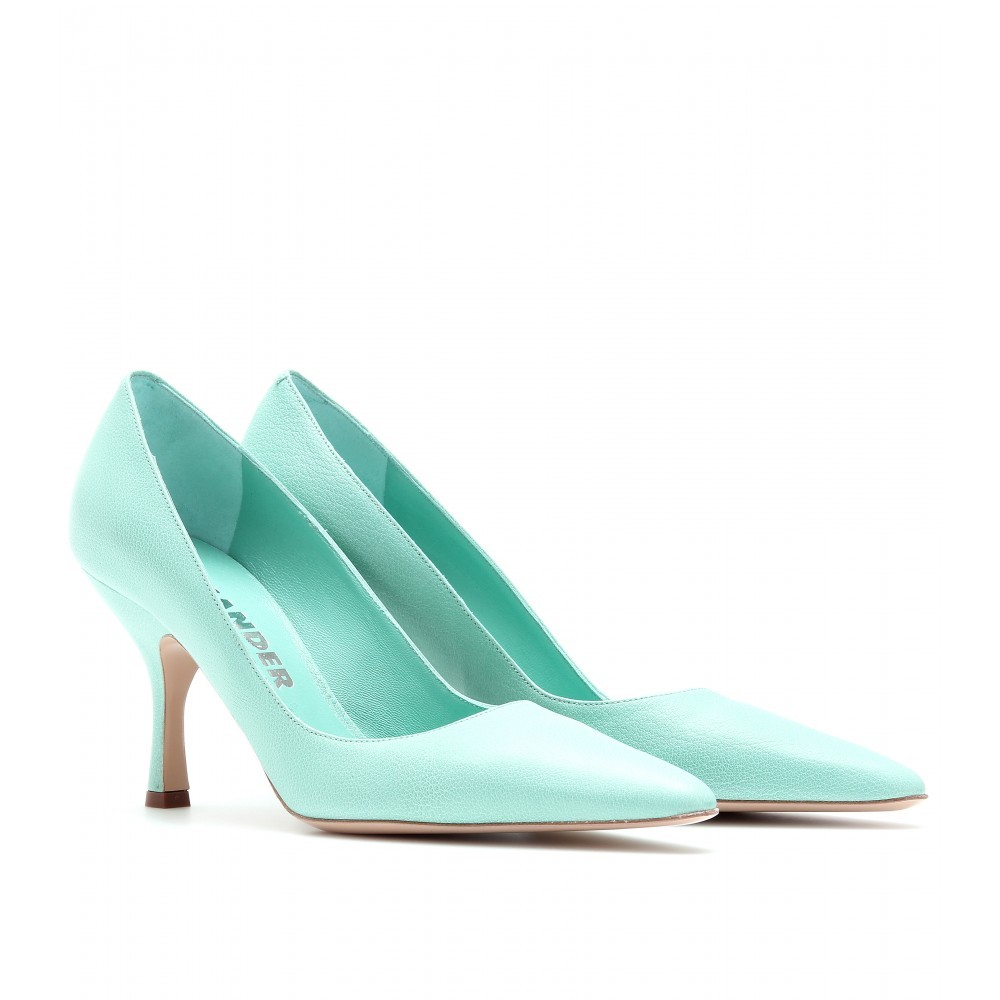 Leather Pumps - predominant colour: pistachio; material: leather; heel height: mid; heel: stiletto; toe: pointed toe; style: courts