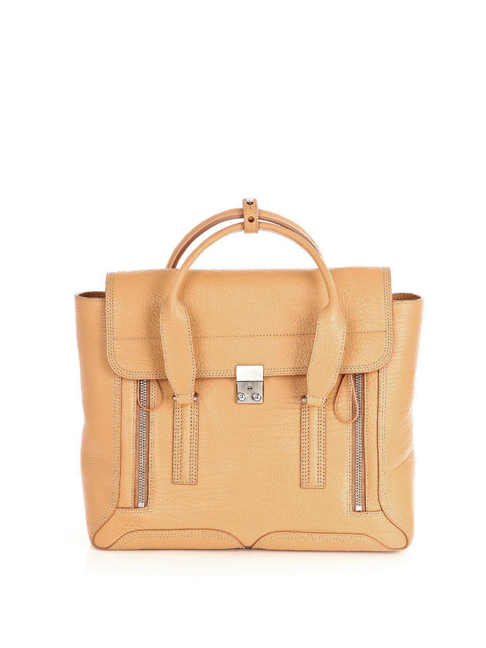 Pashli Satchel Bag - predominant colour: camel; style: tote; length: handle; size: standard; material: leather; embellishment: zips; pattern: plain
