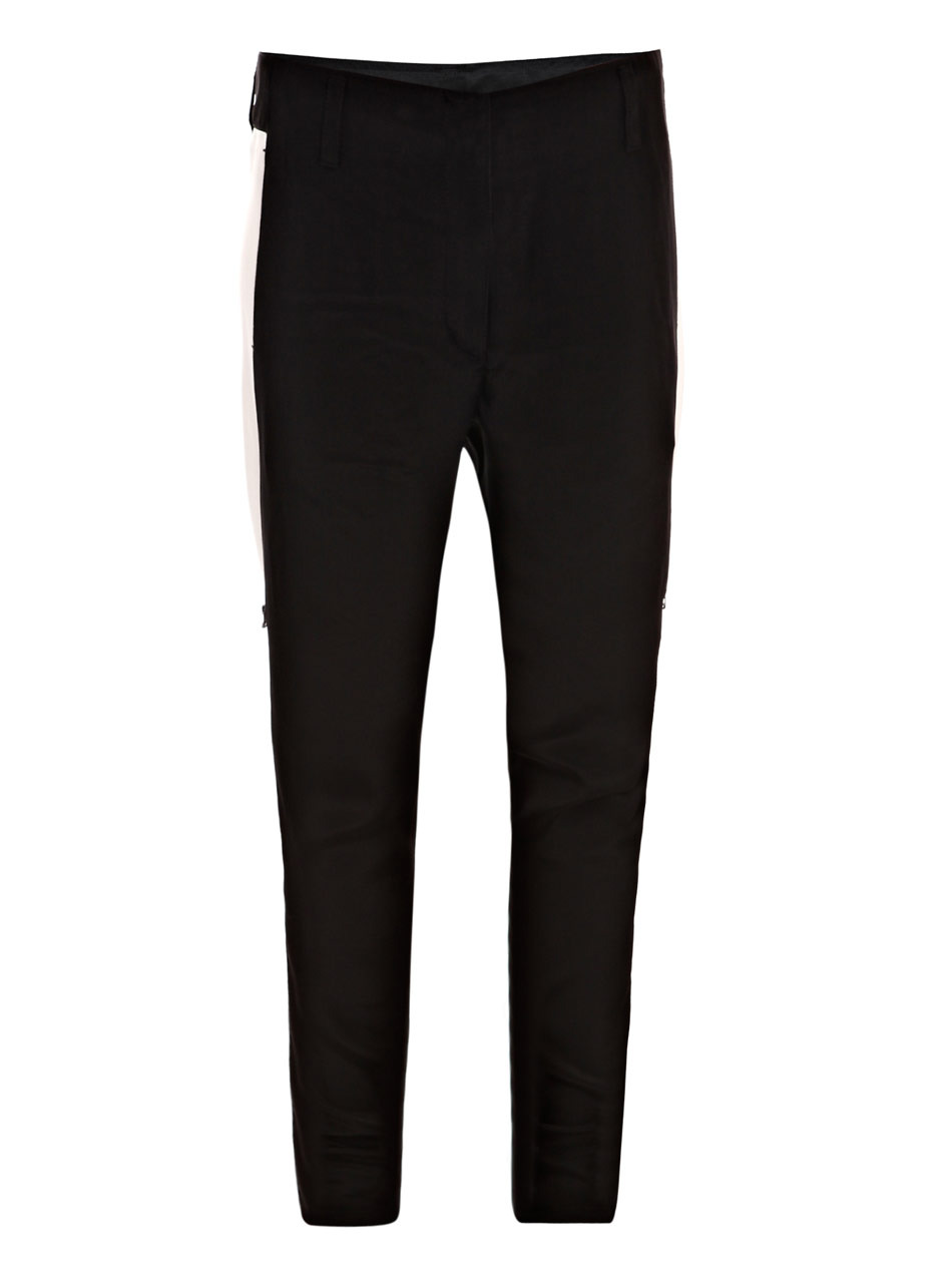 Tuxedo Detail Trousers - length: standard; pocket detail: pockets at the sides; waist: mid/regular rise; predominant colour: black; occasions: casual; fibres: silk - 100%; material texture: satin; texture group: structured shiny - satin/tafetta/silk etc.; fit: slim leg; style: standard