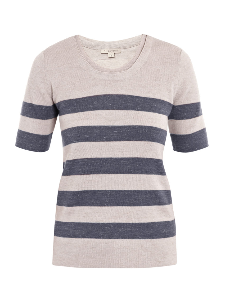 Wool And Linen Stripe Jumper - neckline: round neck; pattern: horizontal stripes; style: standard; predominant colour: stone; occasions: casual; length: standard; fibres: wool - mix; material texture: jersey; fit: standard fit; trends: prints; sleeve length: short sleeve; sleeve style: standard; pattern type: knitted - other; pattern size: standard; texture group: jersey - stretchy/drapey
