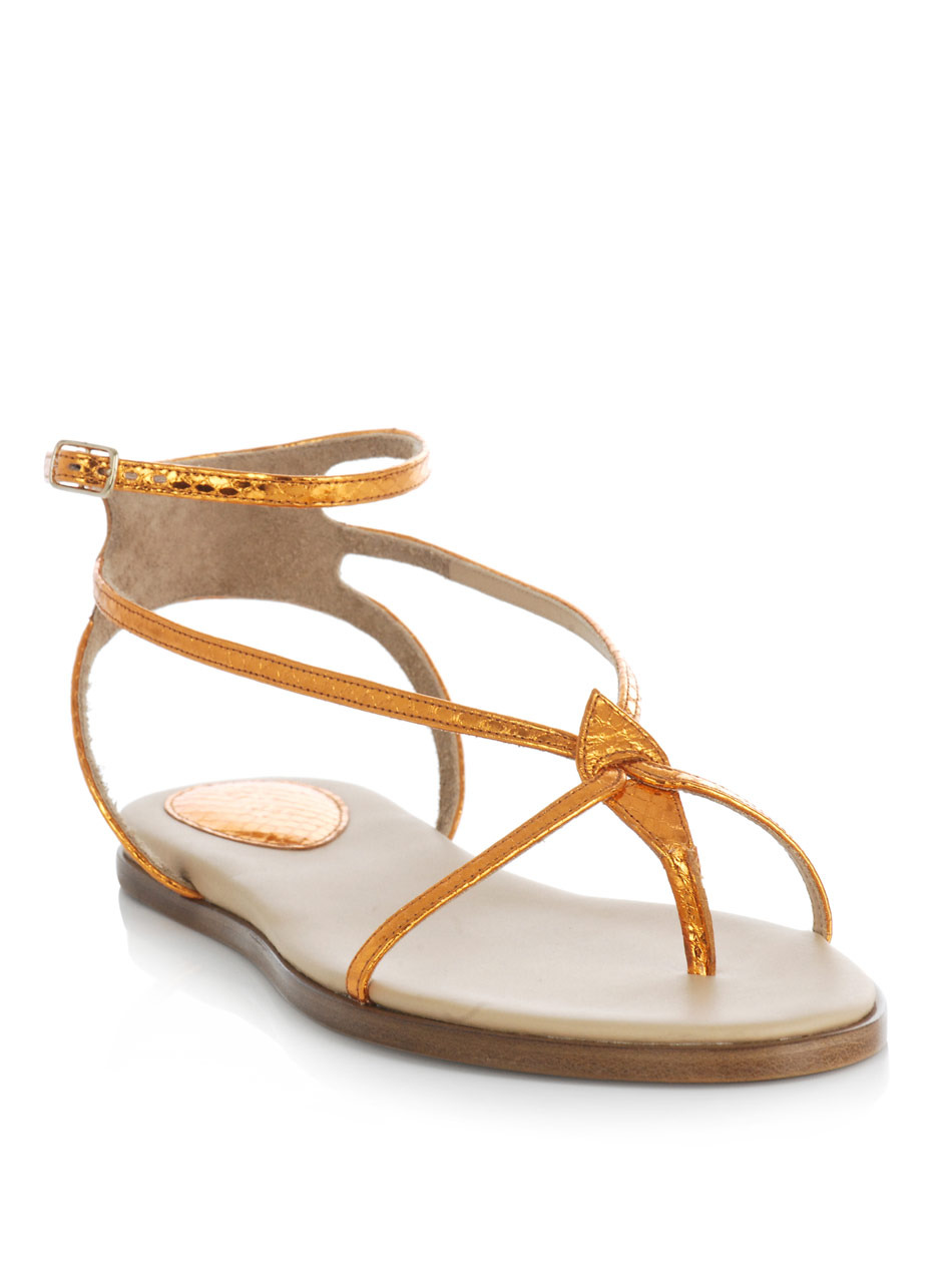Metallic Orange Sandals - predominant colour: gold; material: leather; heel height: flat; ankle detail: ankle strap; heel: standard; toe: toe thongs; style: strappy