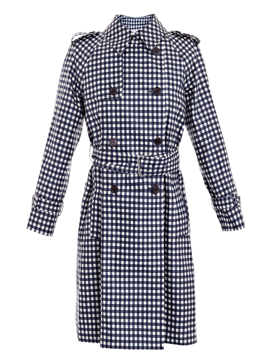 Gingham Print Trench Coat - pattern: checked/gingham, gingham; shoulder detail: obvious epaulette, discreet epaulette; hip detail: side pockets at hip, front pockets at hip; style: trench coat; fit: slim fit; collar: standard lapel/rever collar; length: mid thigh; predominant colour: navy; occasions: casual, work; fibres: polyester/polyamide - 100%; material texture: jersey; waist detail: fitted waist, belted waist/tie at waist/drawstring; trends: prints; sleeve length: long sleeve; sleeve style: standard; collar break: medium; pattern type: fabric; pattern size: standard; texture group: jersey - stretchy/drapey
