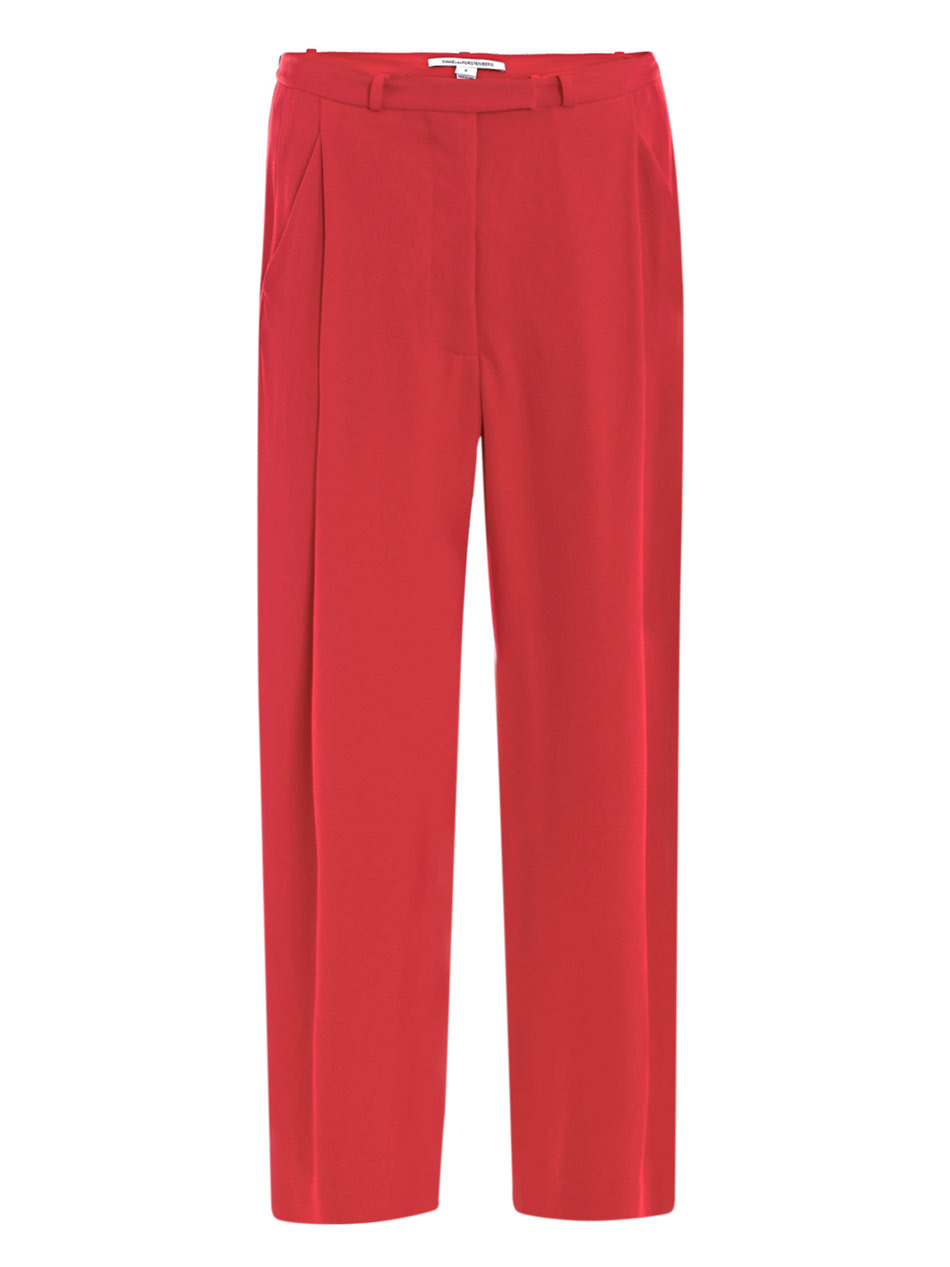 Athos Trousers - length: standard; pocket detail: small back pockets, pockets at the sides; waist: mid/regular rise; predominant colour: true red; occasions: evening, work, occasion; fibres: polyester/polyamide - 100%; material texture: sateen; hip detail: front pleats at hip level; trends: brights; texture group: structured shiny - satin/tafetta/silk etc.; fit: straight leg; style: standard