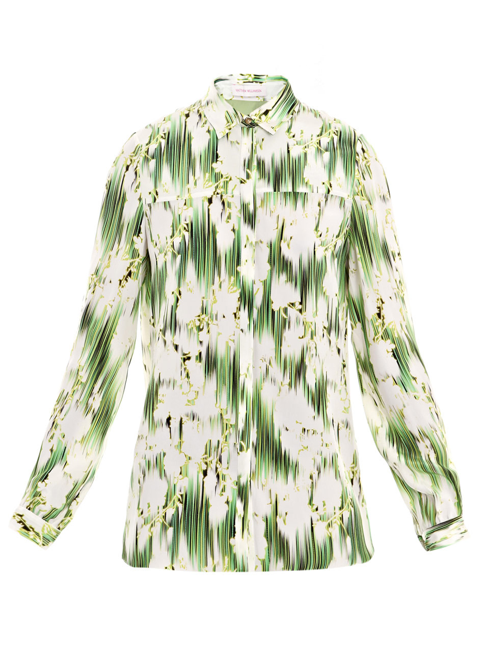Floral Ikat Print Blouse - neckline: shirt collar/peter pan/zip with opening; pattern: lightly patterned, print, patterned/print; style: blouse; predominant colour: lime; occasions: casual, work; length: standard; fibres: silk - 100%; material texture: chiffon; fit: body skimming; trends: prints; sleeve length: long sleeve; sleeve style: standard; texture group: sheer fabrics/chiffon/organza etc.; pattern type: fabric; pattern size: small &amp; light