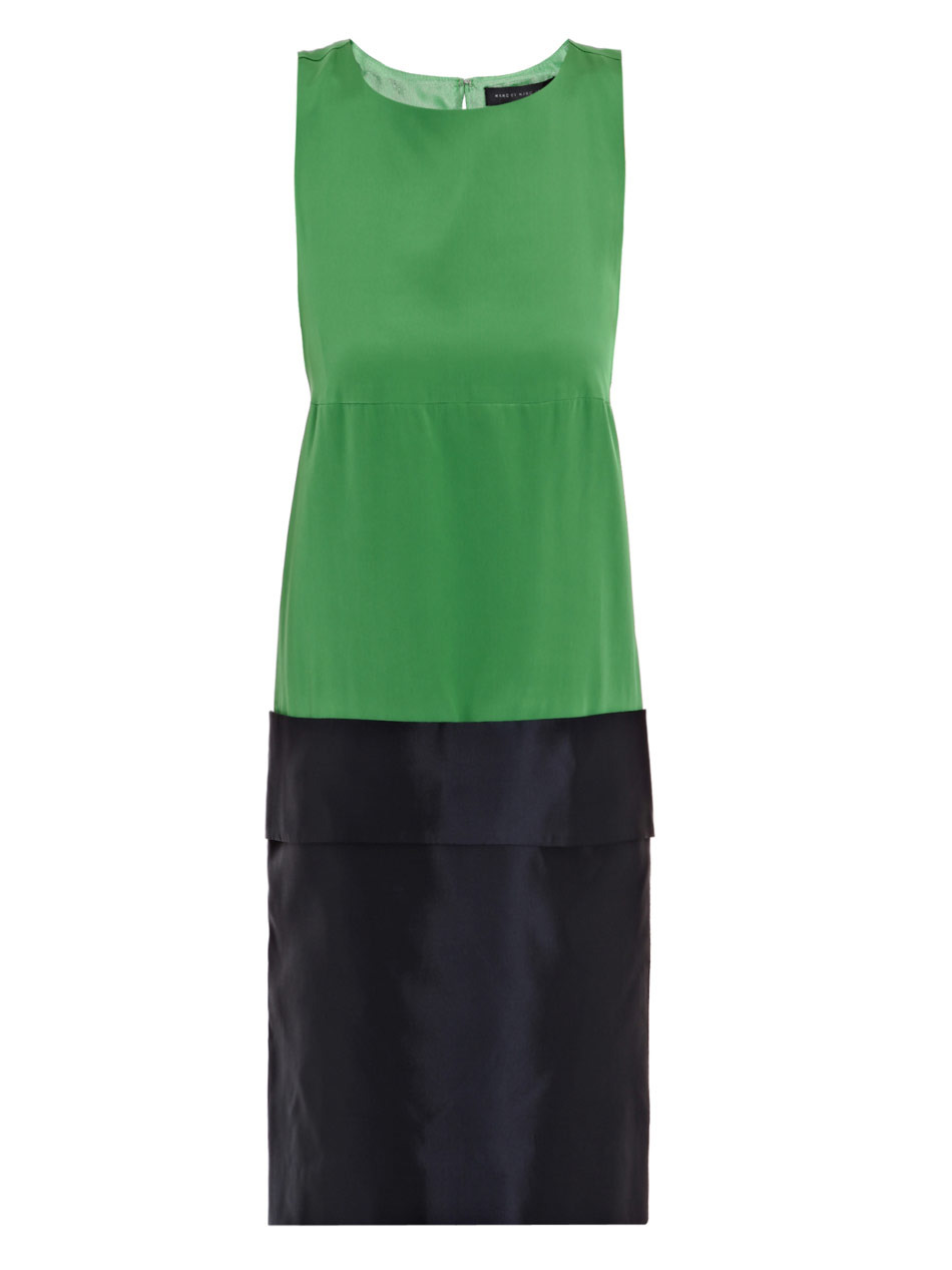 Eames Dress - style: shift; length: mid thigh; neckline: round neck; pattern: plain, two-tone; sleeve style: sleeveless; predominant colour: emerald green; occasions: casual, evening, occasion; fit: body skimming; fibres: silk - 100%; material texture: chiffon; sleeve length: sleeveless; texture group: sheer fabrics/chiffon/organza etc.; pattern type: fabric; pattern size: standard