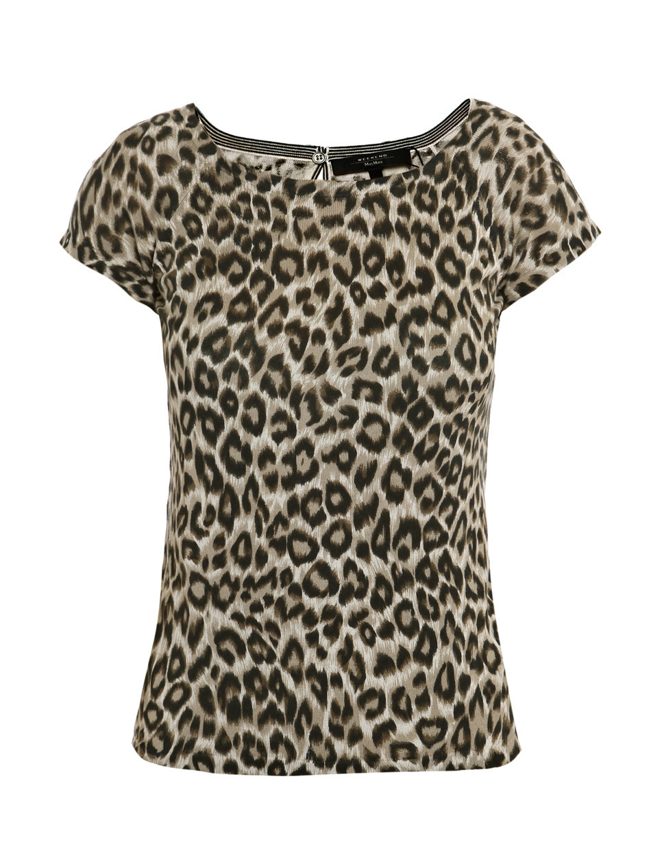 Origano Top - neckline: round neck; waist detail: fitted waist; pattern: small animal print, animal print; predominant colour: chocolate brown; occasions: casual, work; length: standard; style: top; fibres: silk - mix; material texture: chiffon; fit: body skimming; trends: prints; sleeve length: short sleeve; sleeve style: standard; texture group: sheer fabrics/chiffon/organza etc.; pattern type: fabric; pattern size: small &amp; busy