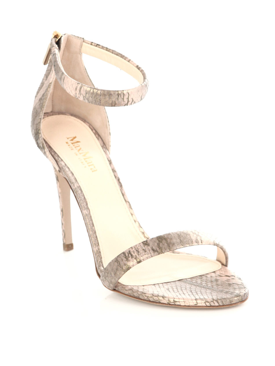 Luana Snake Print Sandals - predominant colour: light grey; material: leather; heel height: high; embellishment: animal print; ankle detail: ankle strap; heel: stiletto; toe: open toe/peeptoe; style: strappy; pattern: animal print