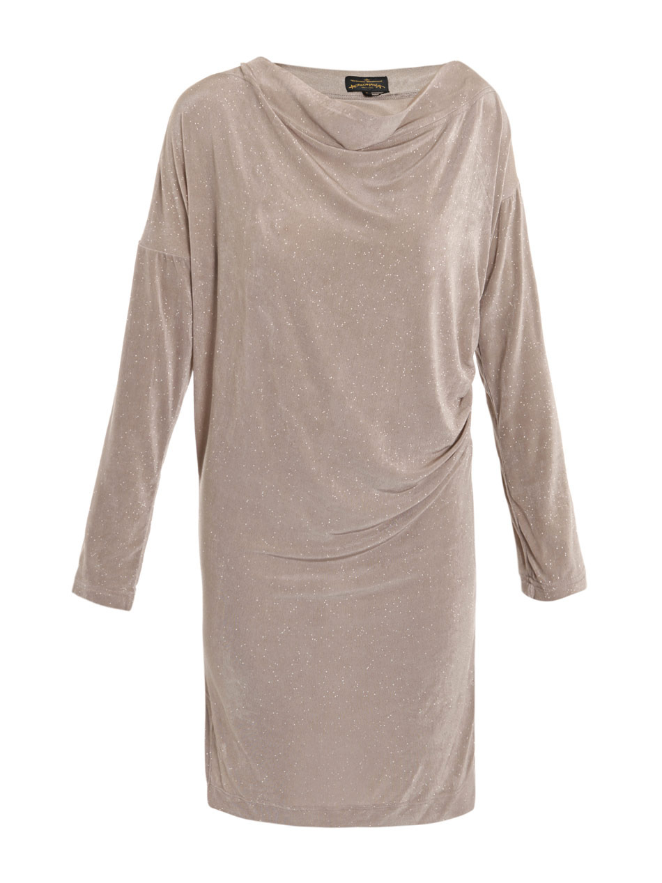 Glitter Drape Dress - style: shift; neckline: cowl/draped neck; pattern: plain, metallic; waist detail: fitted waist, twist front waist detail/nipped in at waist on one side/soft pleats/draping/ruching/gathering waist detail; hip detail: fitted at hip, ruching/gathering at hip; bust detail: ruching/gathering/draping/layers/pintuck pleats at bust; predominant colour: taupe; occasions: casual, evening, work; length: just above the knee; fit: body skimming; fibres: polyester/polyamide - stretch; material texture: jersey stretch; sleeve length: long sleeve; sleeve style: standard; texture group: jersey - clingy; pattern type: fabric; pattern size: standard