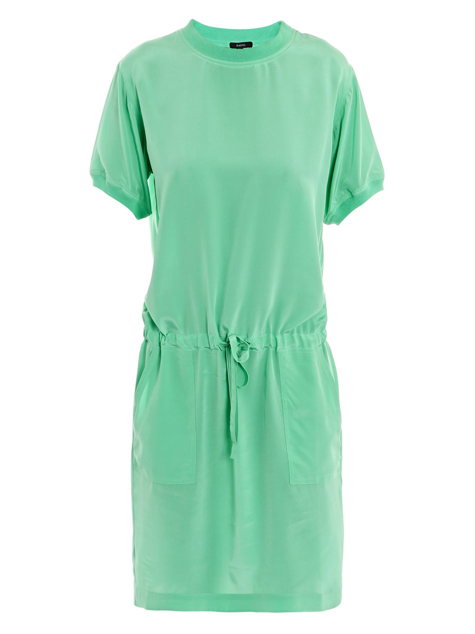 Drawstring Dress - style: t-shirt; neckline: round neck; pattern: plain; waist detail: elasticated waist, drop waist, belted waist/tie at waist/drawstring; hip detail: side pockets at hip, front pockets at hip, fitted at hip; predominant colour: mint green; occasions: casual, work; length: just above the knee; fit: body skimming; fibres: silk - 100%; material texture: silky; trends: pastels; sleeve length: short sleeve; sleeve style: standard; texture group: silky - light; pattern type: fabric; pattern size: standard