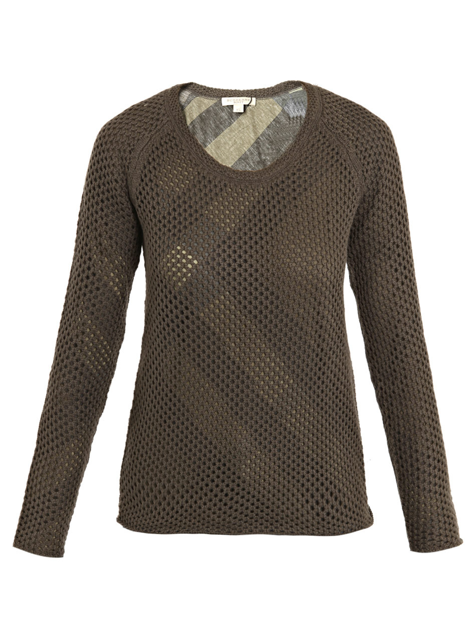 Loose Knit Sweater - neckline: round neck; pattern: holey knit; style: standard; predominant colour: khaki; occasions: casual, work; length: standard; fibres: silk - mix; material texture: jersey; fit: standard fit; sleeve length: long sleeve; sleeve style: standard; pattern type: knitted - other; pattern size: standard; texture group: jersey - stretchy/drapey