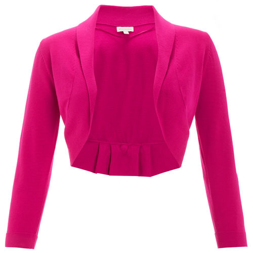 Pink Blair Bow Back Shrug - pattern: plain; neckline: shawl; style: bolero/shrug; length: cropped; predominant colour: hot pink; occasions: casual, evening, work, occasion; fibres: cotton - mix; material texture: chiffon; fit: slim fit; back detail: embellishment at back; trends: brights; sleeve length: 3/4 length; sleeve style: standard; texture group: sheer fabrics/chiffon/organza etc.; pattern type: knitted - other; pattern size: standard