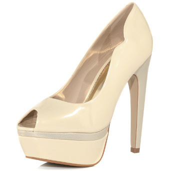 Cream Split Platforms - predominant colour: ivory; material: faux leather; heel height: high; heel: platform; toe: open toe/peeptoe; style: courts