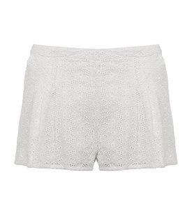 Lace Shorts - style: shorts; waist detail: fitted waist, narrow waistband; length: short shorts; waist: mid/regular rise; predominant colour: white; occasions: casual, evening; fibres: cotton - 100%; material texture: lace; trends: white; texture group: lace; fit: straight leg