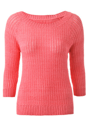 Open Stitch Stepped Jumper - neckline: round neck; pattern: plain; style: standard; predominant colour: pink; occasions: casual; length: standard; fibres: cotton - mix; material texture: denim; fit: standard fit; trends: pastels; sleeve length: 3/4 length; sleeve style: standard; texture group: denim; pattern type: knitted - other; pattern size: standard