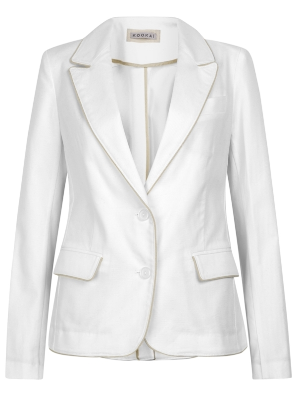 Cotton Blazer, White - pattern: plain; style: single breasted blazer; shoulder detail: shoulder pads; hip detail: side pockets at hip, front pockets at hip; fit: slim fit; collar: standard lapel/rever collar; predominant colour: white; occasions: casual, evening, work; length: standard; fibres: cotton - stretch; material texture: lace; waist detail: fitted waist; trends: white; sleeve length: long sleeve; sleeve style: standard; texture group: lace; collar break: medium; pattern type: fabric; pattern size: standard