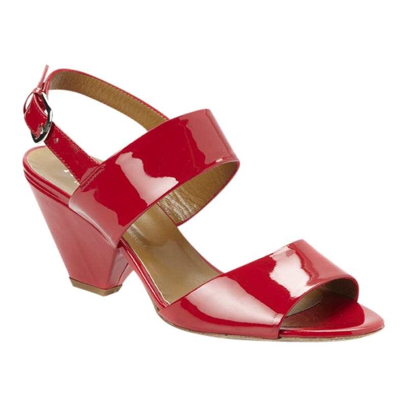 Millie Patent Sandals, Cherry - predominant colour: true red; material: patent; heel height: mid; ankle detail: ankle strap; heel: cone; toe: open toe/peeptoe; style: slingbacks; finish: patent