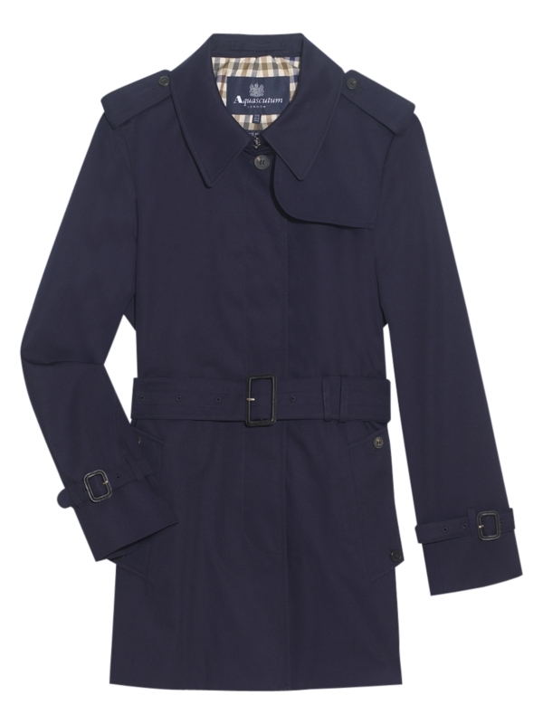 Jennifer Single Breasted Raincoat, Navy - pattern: plain; shoulder detail: obvious epaulette; hip detail: side pockets at hip; collar: wide lapels; style: mac; fit: slim fit; length: mid thigh; predominant colour: navy; occasions: casual, evening, work; fibres: polyester/polyamide - 100%; waist detail: belted waist/tie at waist/drawstring; back detail: back vent/flap at back; material texture: silky; sleeve length: long sleeve; sleeve style: standard; texture group: silky - light; pattern type: fabric; pattern size: standard
