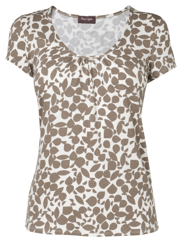 Georgie Print Top, Ivory/Mink - neckline: round neck; pattern: print, patterned/print; waist detail: fitted waist; style: t-shirt; bust detail: ruching/gathering/draping/layers/pintuck pleats at bust; predominant colour: taupe; occasions: casual, work; length: standard; fibres: polyester/polyamide - stretch; material texture: jersey; fit: body skimming; trends: prints; sleeve length: short sleeve; sleeve style: standard; pattern type: fabric; pattern size: standard; texture group: jersey - stretchy/drapey
