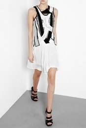 Beaded Macrame Ruched Dress - neckline: round neck; sleeve style: sleeveless; bust detail: ruching/gathering/draping/layers/pintuck pleats at bust; predominant colour: white; length: just above the knee; fit: body skimming; style: asymmetric (hem); fibres: silk - 100%; material texture: lace; occasions: occasion; trends: white; sleeve length: sleeveless; texture group: lace