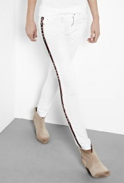 Rialto Jeans - style: skinny leg; length: standard; pocket detail: traditional 5 pocket; waist: mid/regular rise; predominant colour: white; occasions: casual; fibres: cotton - stretch; material texture: denim; trends: white; texture group: denim; pattern type: fabric; pattern size: small &amp; light; embellishment: embroidered