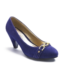 Comfort Plus Trim Court Shoes Eee Fit - predominant colour: royal blue; material: fabric; heel height: mid; embellishment: snaffles; heel: block; toe: round toe; style: courts