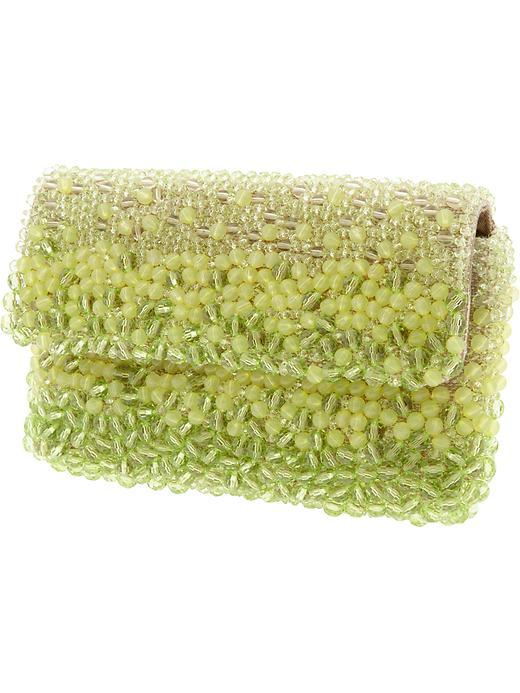 Renee Ombre Beaded Clutch - predominant colour: lime; type of pattern: heavy; style: clutch; length: hand carry; size: small; material: fabric; embellishment: beading; pattern: fluorescent, plain; finish: fluorescent