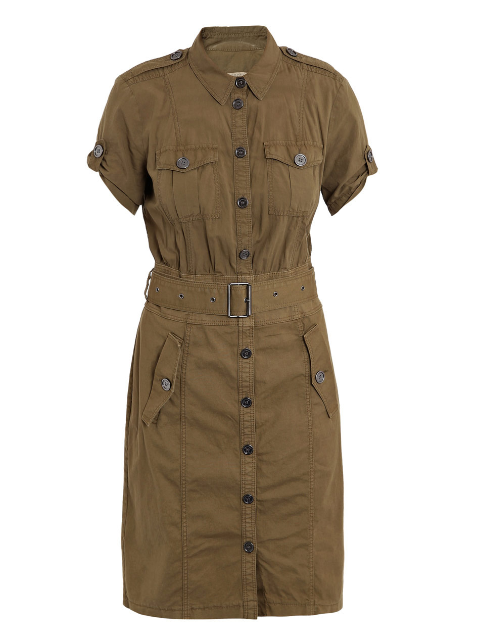 Venet Shirt Dress - style: shirt; neckline: shirt collar/peter pan/zip with opening; pattern: plain; hip detail: side pockets at hip; waist detail: belted waist/tie at waist/drawstring; predominant colour: khaki; occasions: casual, work; length: on the knee; fit: body skimming; fibres: cotton - stretch; material texture: chiffon; shoulder detail: discreet epaulette; sleeve length: short sleeve; sleeve style: standard; texture group: sheer fabrics/chiffon/organza etc.; pattern type: fabric; pattern size: standard