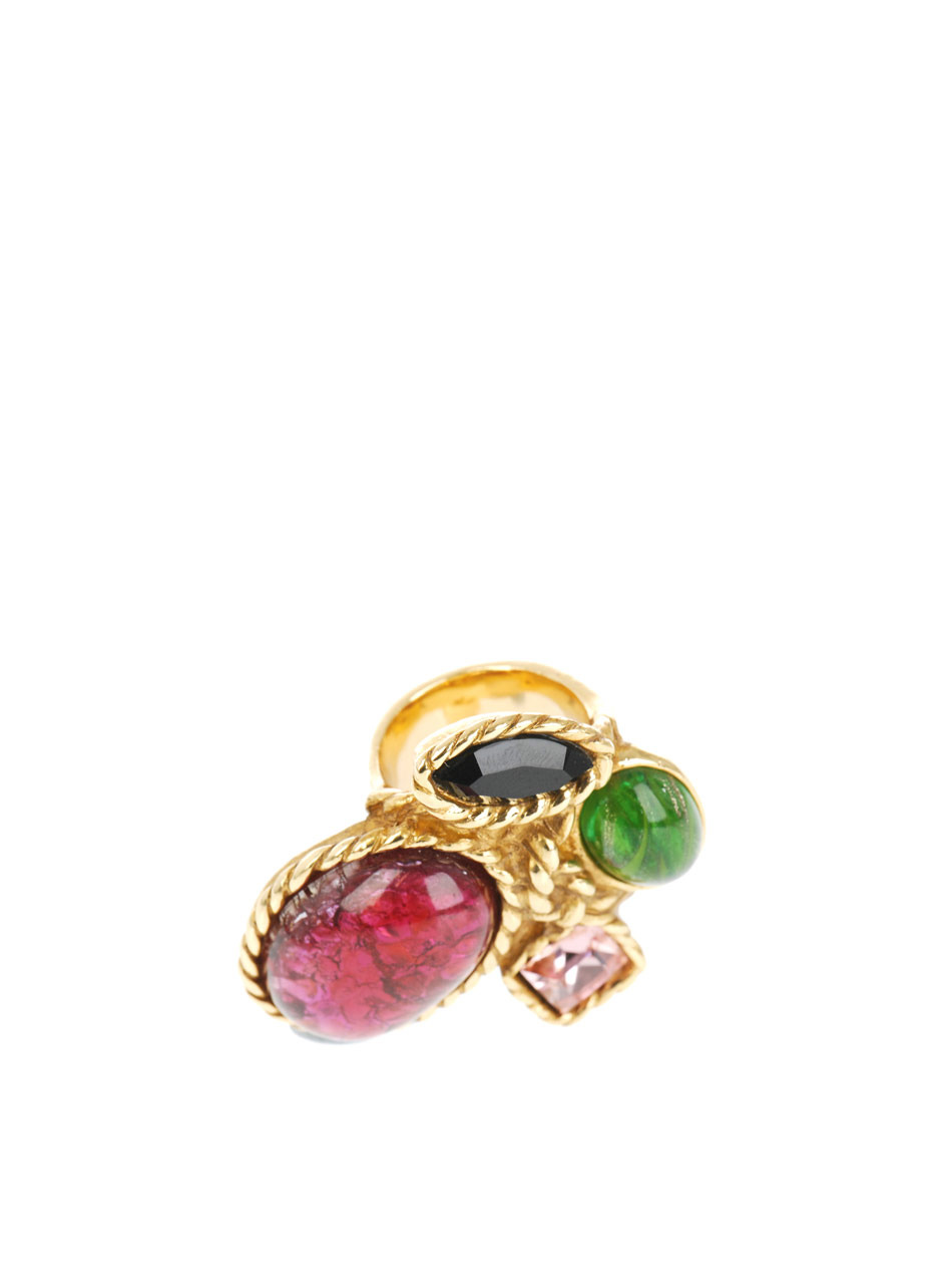 Arty Gold Plated Ring - predominant colour: multicoloured; style: cocktail; size: large/oversized; material: chain/metal