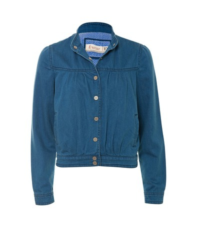 Denim Bomber Jacket - pattern: plain; collar: high neck; fit: slim fit; hip detail: fitted at hip, fitted band at hip; style: bomber; predominant colour: denim; occasions: casual; length: standard; fibres: cotton - 100%; material texture: denim; sleeve length: long sleeve; sleeve style: standard; texture group: denim; collar break: high; pattern type: fabric; pattern size: standard