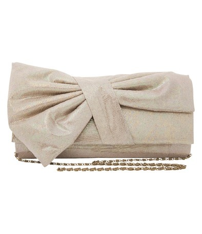Taupe Bow Clutch - predominant colour: taupe; style: clutch; length: hand carry; size: small; material: fabric