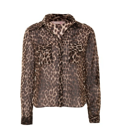 Caoimhe Leopard Print Shirt - neckline: shirt collar/peter pan/zip with opening; style: shirt; pattern: small animal print, animal print; predominant colour: chocolate brown; occasions: casual; length: standard; fibres: polyester/polyamide - 100%; material texture: jersey; fit: body skimming; sleeve length: long sleeve; sleeve style: standard; pattern type: fabric; pattern size: small & busy; texture group: jersey - stretchy/drapey
