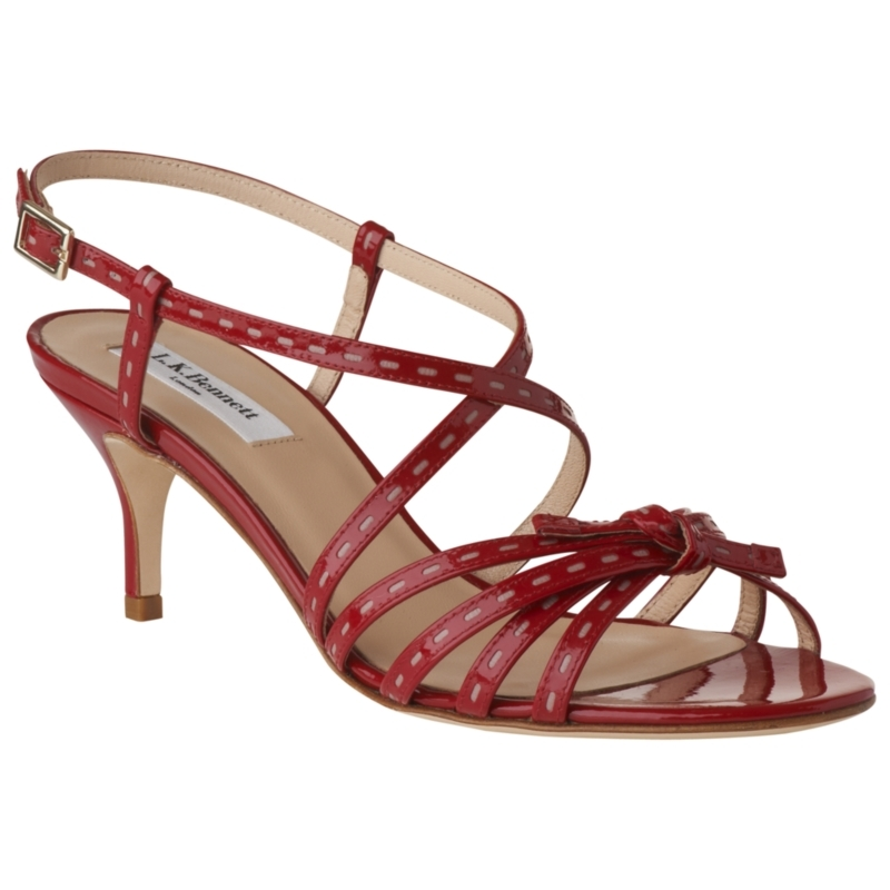 Felix Patent Leather Stiletto Sandals, Red - predominant colour: burgundy; material: patent; heel height: mid; ankle detail: ankle strap; heel: stiletto; toe: open toe/peeptoe; style: strappy; finish: patent
