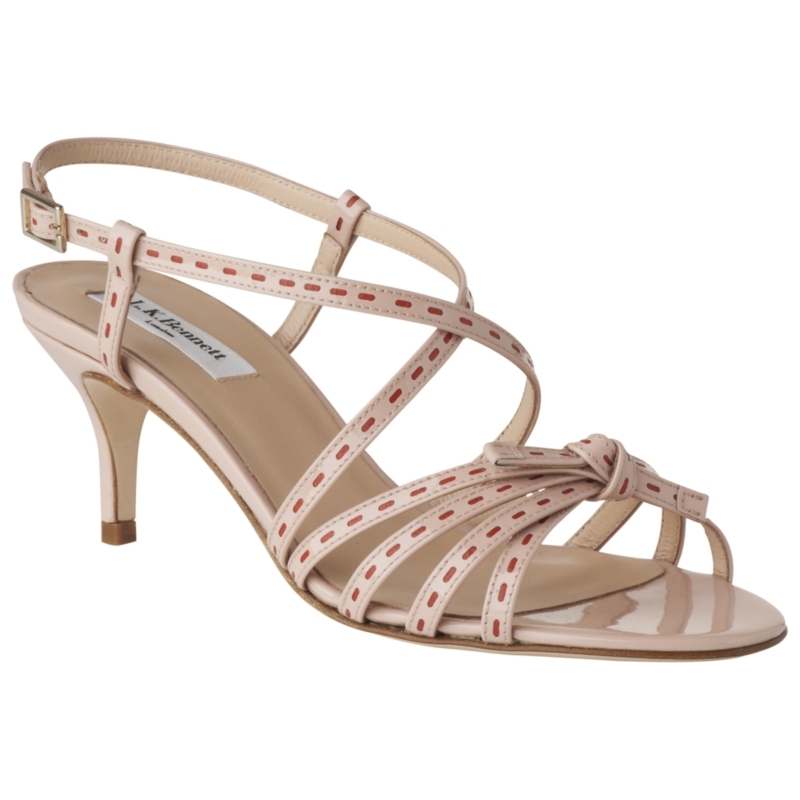 Felix Patent Leather Stiletto Sandals, Rose - predominant colour: ivory; material: patent; heel height: mid; embellishment: buckles, embroidered; ankle detail: ankle strap; heel: kitten; toe: open toe/peeptoe; style: strappy; finish: patent