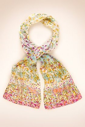 Classic Collection Pure Silk Ombre Ditsy Scarf - predominant colour: multicoloured; type of pattern: small; style: regular; size: standard; material: silk; pattern: florals