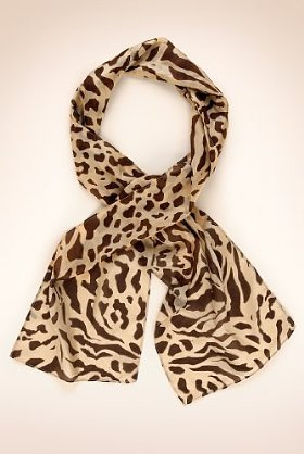 Classic Collection Pure Silk Animal Print Scarf - predominant colour: chocolate brown; type of pattern: standard; style: regular; size: standard; material: silk; pattern: animal print