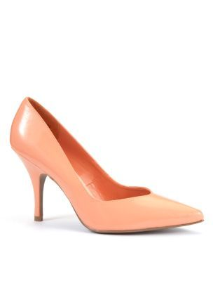 Coral Patent Pointed Court Shoes - predominant colour: pink; material: patent; heel height: high; heel: stiletto; toe: pointed toe; style: courts; finish: patent