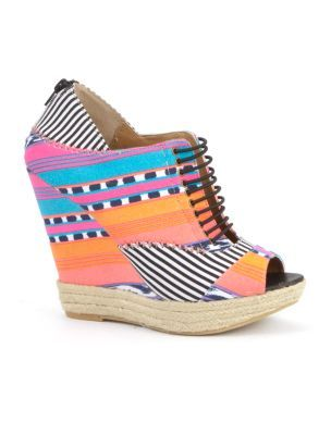 Chinese Laundry Made My Day Patterned Wedges - predominant colour: multicoloured; material: fabric; heel height: high; embellishment: print; heel: wedge; toe: open toe/peeptoe; style: mules; pattern: patterned/print