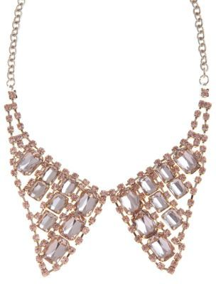 Limited Diamante Collar Necklace - predominant colour: champagne; style: bib; length: mid; size: standard; material: chain/metal
