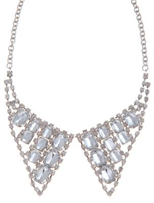 Limited Diamanté Collar Necklace - predominant colour: silver; style: bib; length: mid; size: standard; material: chain/metal