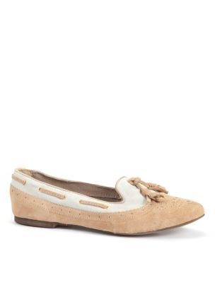 Cream And White Tassel Suede Loafers - predominant colour: camel; material: suede; heel height: flat; embellishment: tassels; toe: round toe; style: loafers