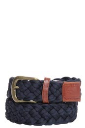 Navy Rope Belt - predominant colour: navy; style: plaited/woven; size: standard; worn on: hips; material: fabric; pattern: plain, two-tone