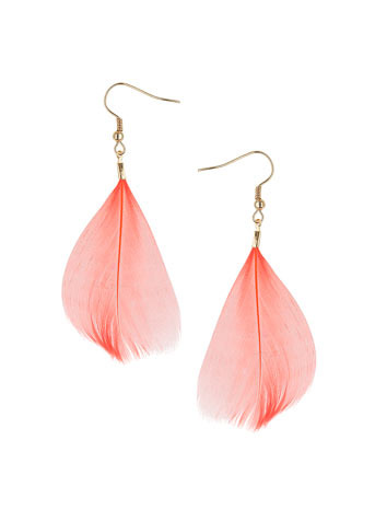 Coral Feather Drop Earrings - predominant colour: coral; style: drop; length: mid; size: standard; material: feather; fastening: pierced; embellishment: feathers
