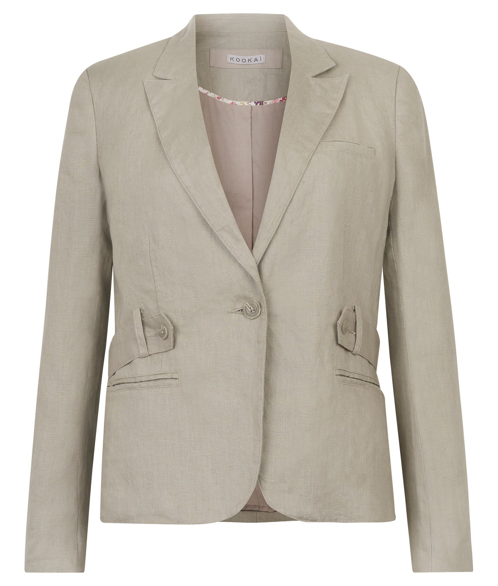 Women's Belted Linen Blazer, Tan - pattern: plain; style: single breasted blazer; shoulder detail: shoulder pads; bust detail: added detail/embellishment at bust; hip detail: side pockets at hip, front pockets at hip; collar: standard lapel/rever collar; predominant colour: taupe; occasions: casual, work; length: standard; fit: tailored/fitted; fibres: linen - 100%; material texture: calico; waist detail: fitted waist, belted waist/tie at waist/drawstring; sleeve length: long sleeve; sleeve style: standard; texture group: cotton feel fabrics; collar break: medium; pattern type: fabric; pattern size: standard