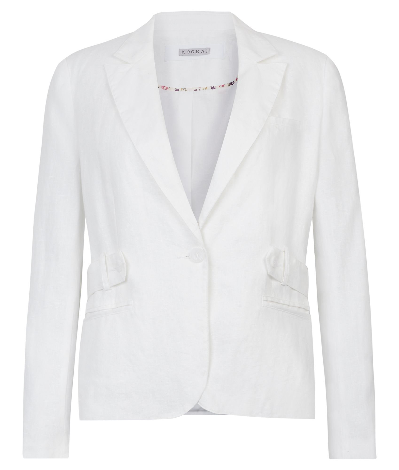 Women's Belted Linen Blazer, White - pattern: plain; style: single breasted blazer; shoulder detail: shoulder pads; bust detail: added detail/embellishment at bust; hip detail: side pockets at hip; collar: standard lapel/rever collar; predominant colour: white; occasions: casual, evening, occasion; length: standard; fit: tailored/fitted; fibres: linen - 100%; material texture: calico; waist detail: fitted waist, belted waist/tie at waist/drawstring; trends: white; sleeve length: long sleeve; sleeve style: standard; texture group: cotton feel fabrics; collar break: medium; pattern type: fabric; pattern size: standard