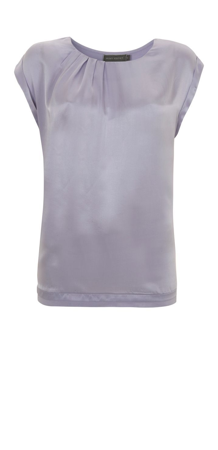 Women&#x27;s Lilac Silk Front Tee, Purple - neckline: round neck; sleeve style: capped; pattern: plain; bust detail: ruching/gathering/draping/layers/pintuck pleats at bust; predominant colour: lilac; occasions: evening, work; length: standard; style: top; fibres: silk - 100%; material texture: satin; fit: straight cut; sleeve length: short sleeve; texture group: structured shiny - satin/tafetta/silk etc.; pattern type: fabric; pattern size: standard